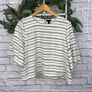 Who What Wear White with Black Striped Blouse
